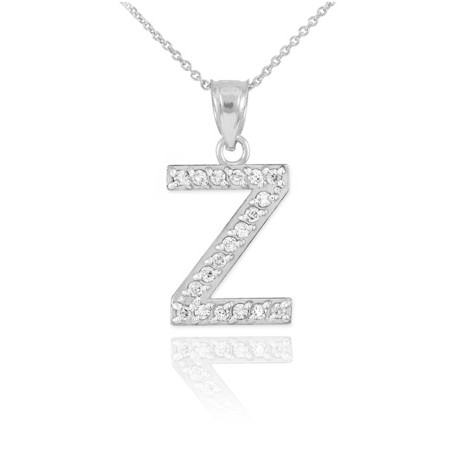 "Sterling Silver Letter ""Z"" CZ Initial Pendant Necklace"