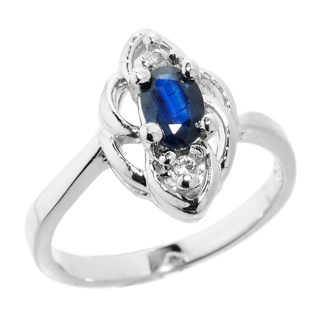 Sterling Silver Diamond and Blue Sapphire Proposal Ring