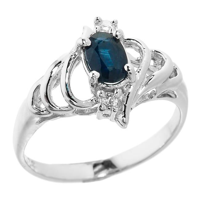 Sterling Silver Genuine Blue Sapphire September Birthstone Ladies Ring