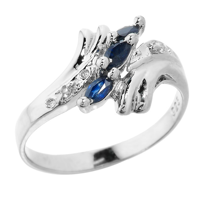 Charming Sterling Silver Marquise Blue Sapphire September Birthstone Ladies Ring