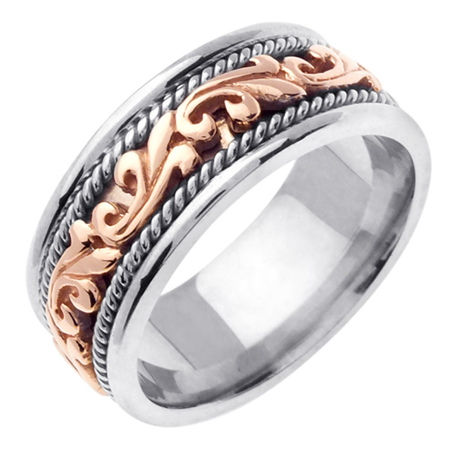 18k Two-Tone Gold Braided Celtic Wedding Band