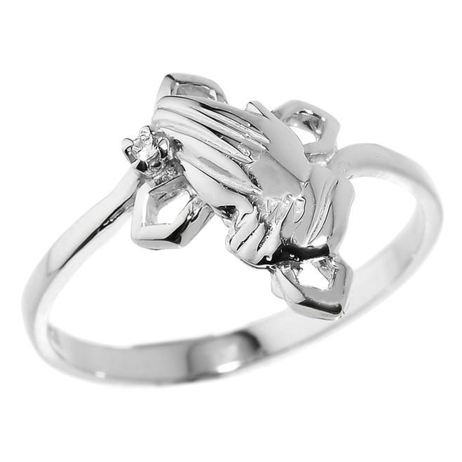White Gold Praying Hands Diamond Ring