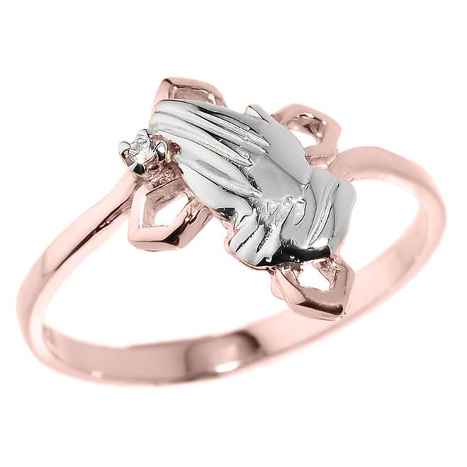 Rose Gold Praying Hands Diamond Ring