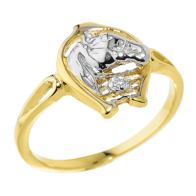 Yellow Gold Horseshoe with Horse Head Diamond Ring
