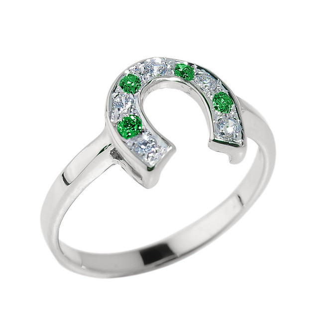 Sterling Silver White and Green CZ Ladies Horseshoe Ring