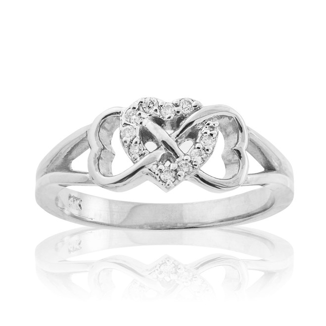 White Gold Diamond Infinity Heart Ring