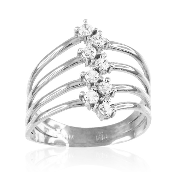 Sterling Silver Four-Band CZ Ring