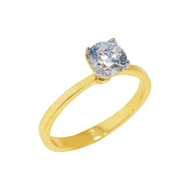 Gold CZ Ladies Engagement Ring
