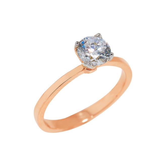 Rose Gold CZ Ladies Engagement Ring