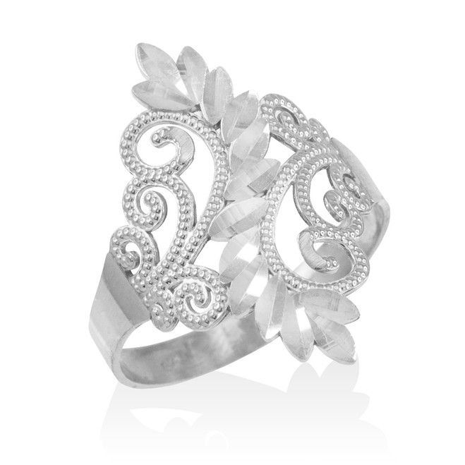 Sterling Silver Filigree Diamond Cut Ring