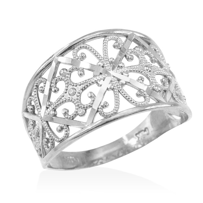 White Gold Filigree Ring
