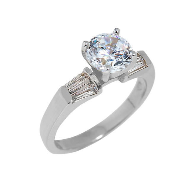 White Gold CZ Engagement Ring with Baguette Sidestones