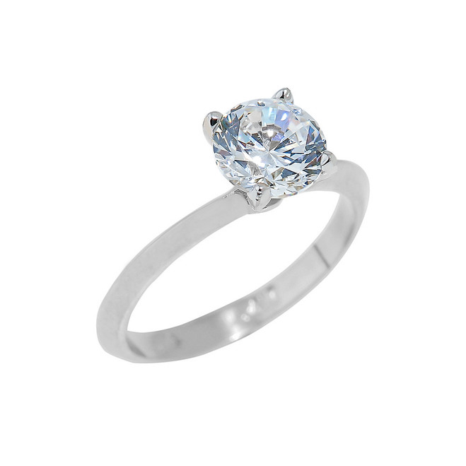 Sterling Silver Engagement Ring with Round Cut Cubic Zirconia