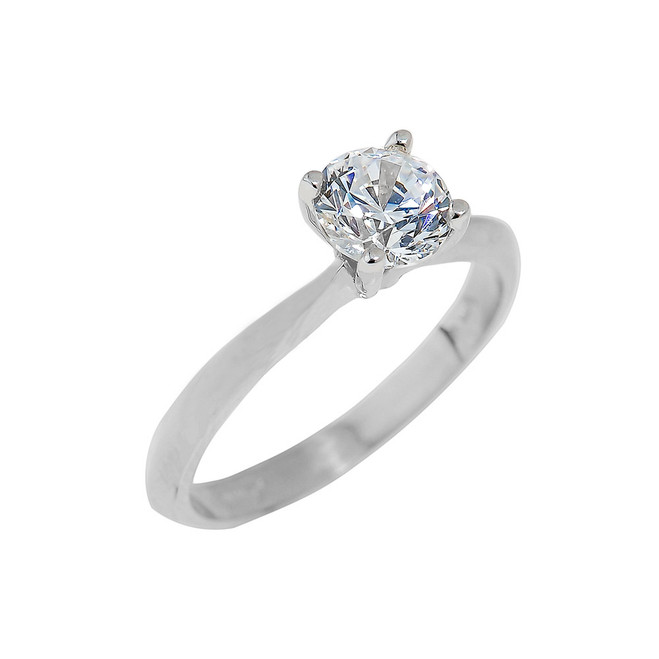White Gold Round Cut CZ Ring