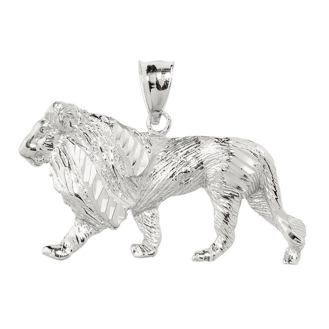 Sterling Silver Diamond Cut Lion Pendant