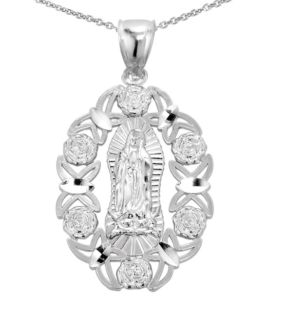 Sterling Silver Our Lady of Guadalupe Charm Pendant Necklace
