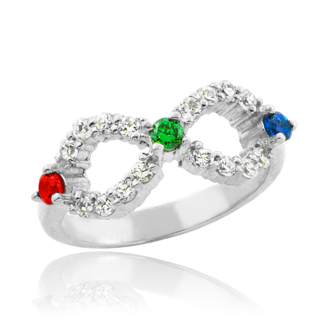White Gold Infinity CZ Ring with Interchangable Birthstones