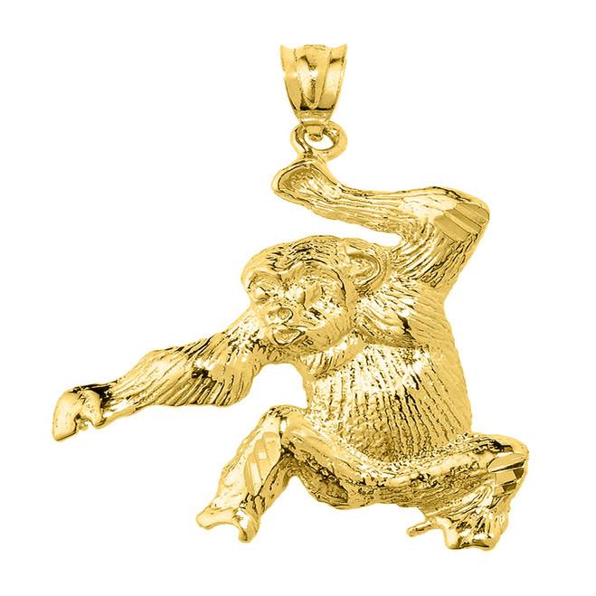 Yellow Gold Diamond Cut Monkey Pendant