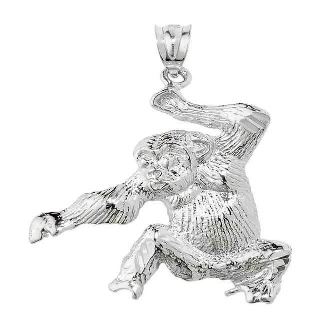 White Gold Diamond Cut Monkey Pendant