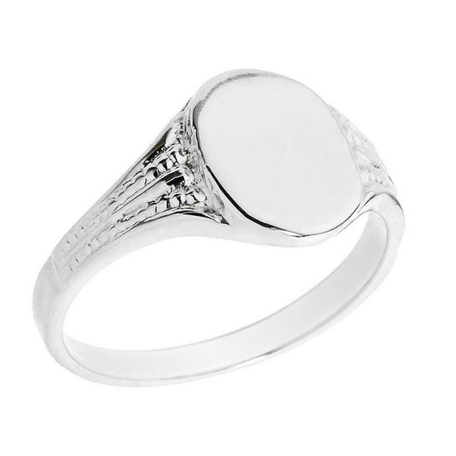 Sterling Silver Oval Engravable Men's Signet Ring