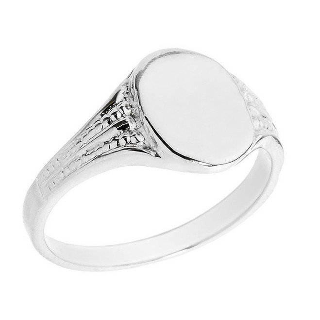 Sterling Silver Oval Engravable Men's Signet Ring