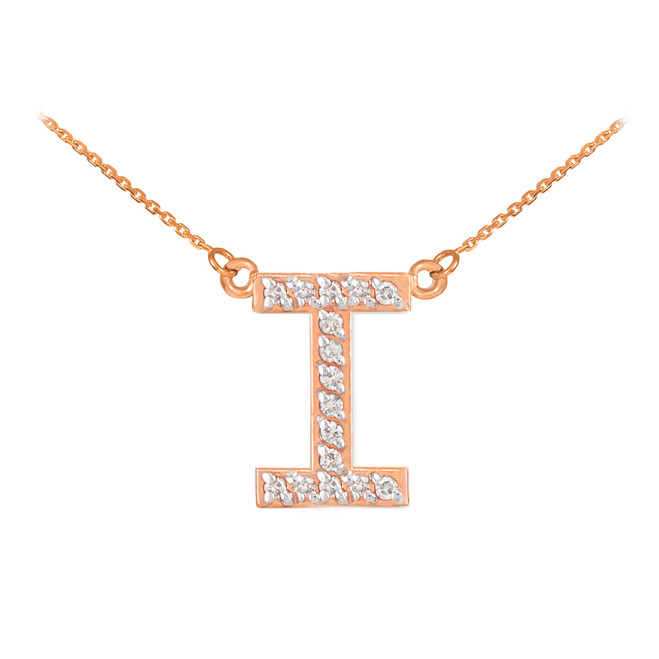 "14k Rose Gold ""I"" Diamond Initial Necklace"
