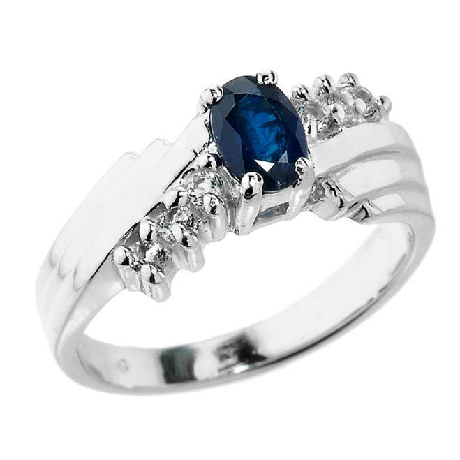 Dazzling White Gold Diamond and Blue Sapphire Proposal Ring