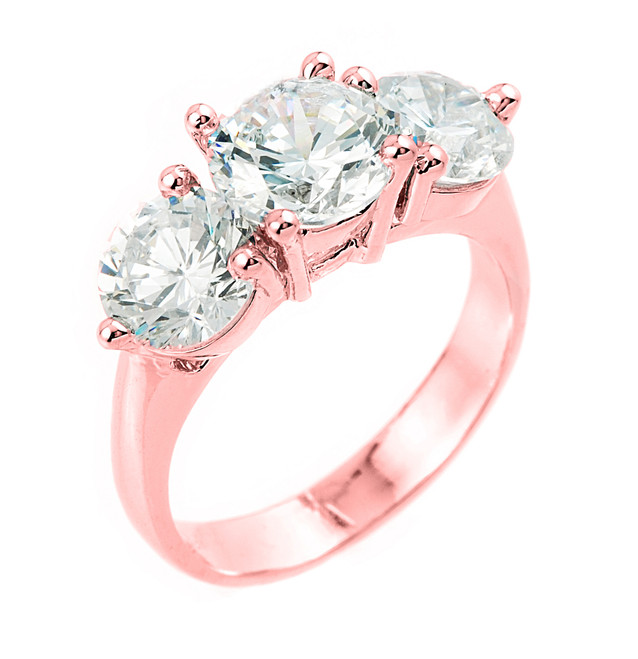 10k Rose Gold 3 Stone Cubic Zirconia Engagement Wedding Ring