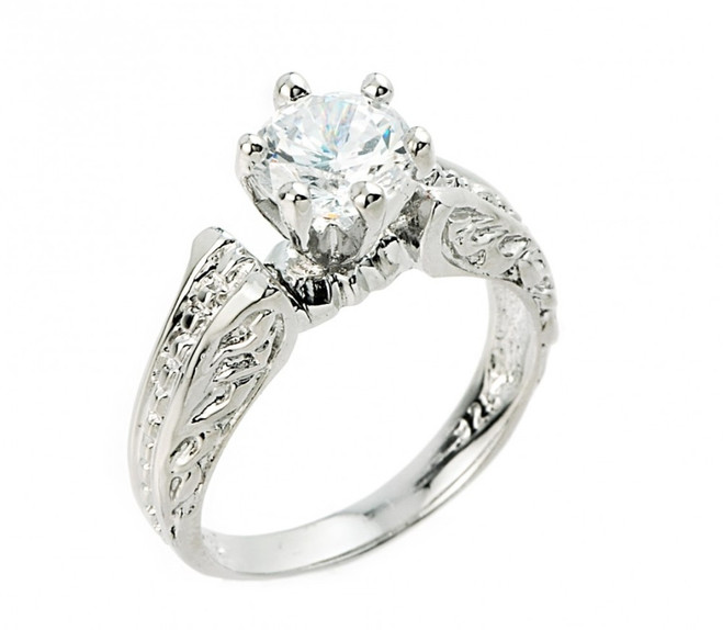 Sterling Silver Solitaire CZ Engagement Ring