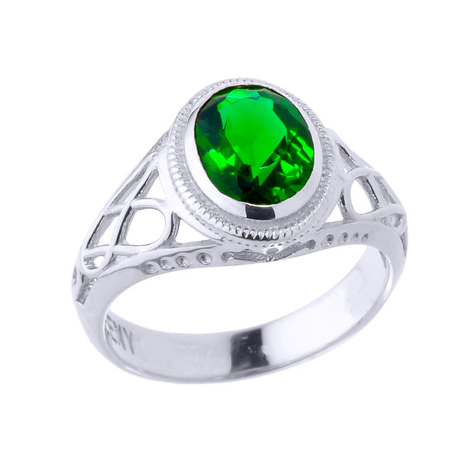 White Gold Celtic Lady's CZ Birthstone Ring