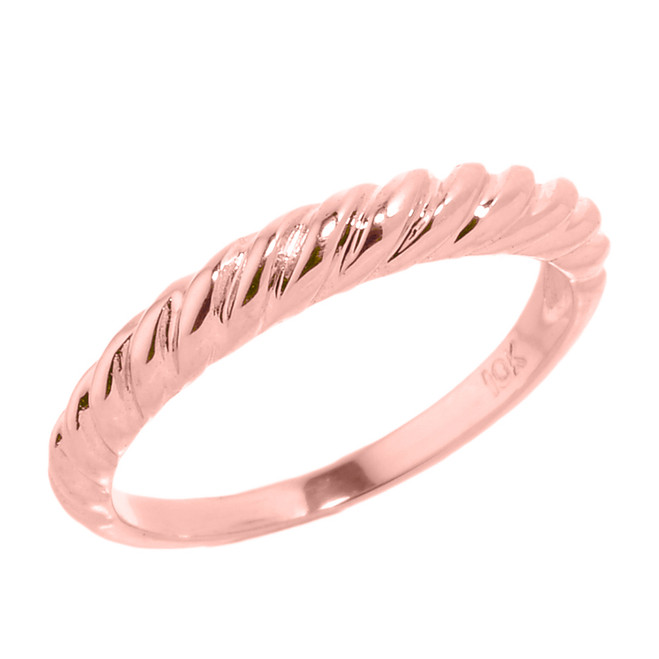 Rose Gold Twisted Rope Stackable Ring