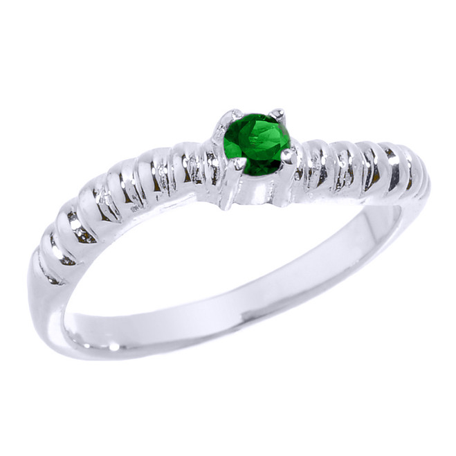 White Gold Curved Stackable CZ Birthstone Ring