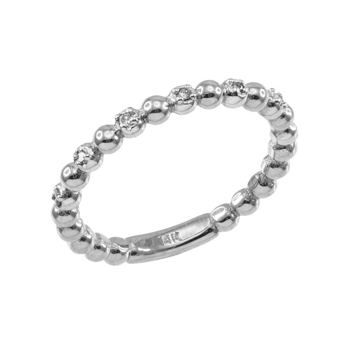 Sterling Silver Ball Chain Stackable Ring with CZ