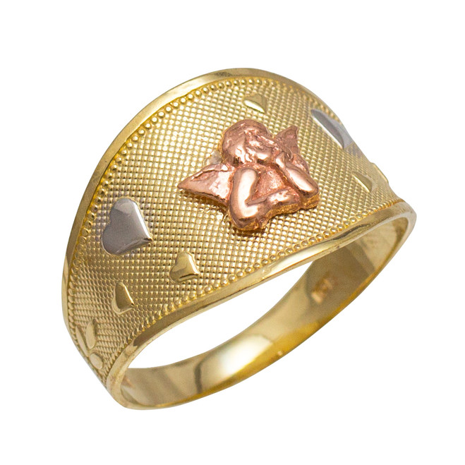 Gold Angel Hearts Ring
