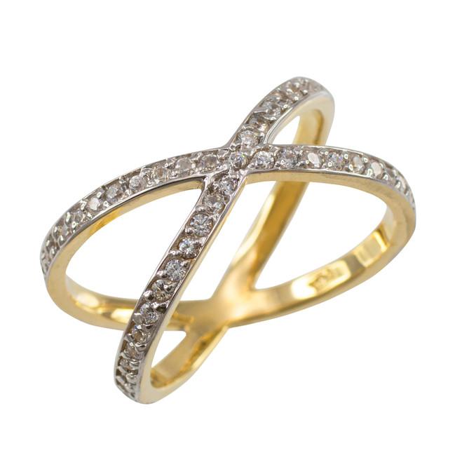 Gold Diamond Orbit Ring (Size 7.5)