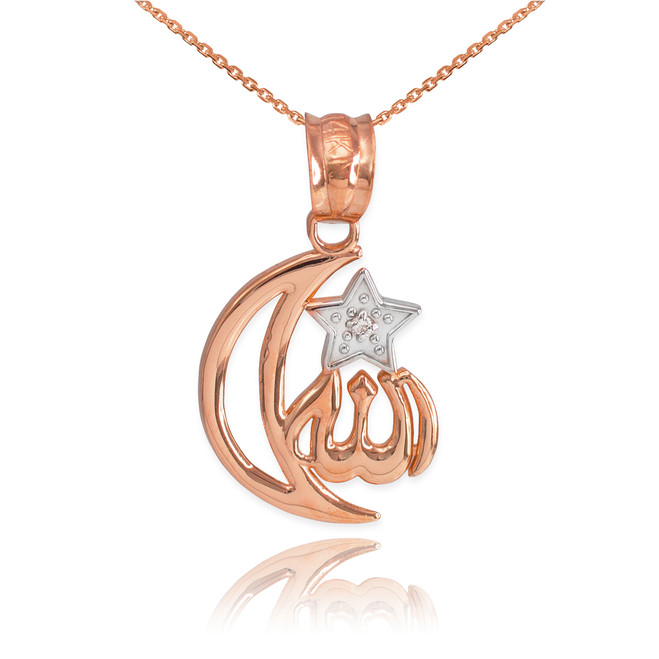 Rose Gold Diamond Crescent Moon Allah Pendant Necklace