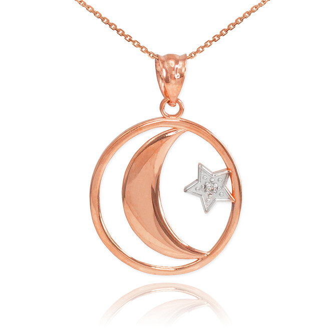 Rose Gold Crescent Moon with Diamond Star Islamic Pendant Necklace