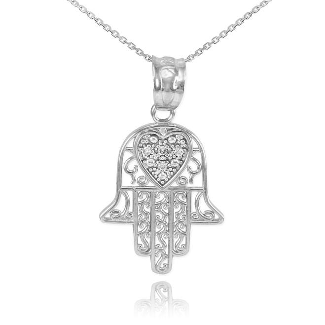 White Gold Diamond Filigree Hamsa Pendant Necklace