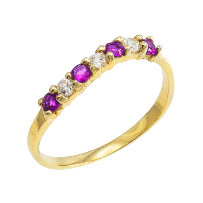 Gold Wavy Stackable CZ Amethyst Ring