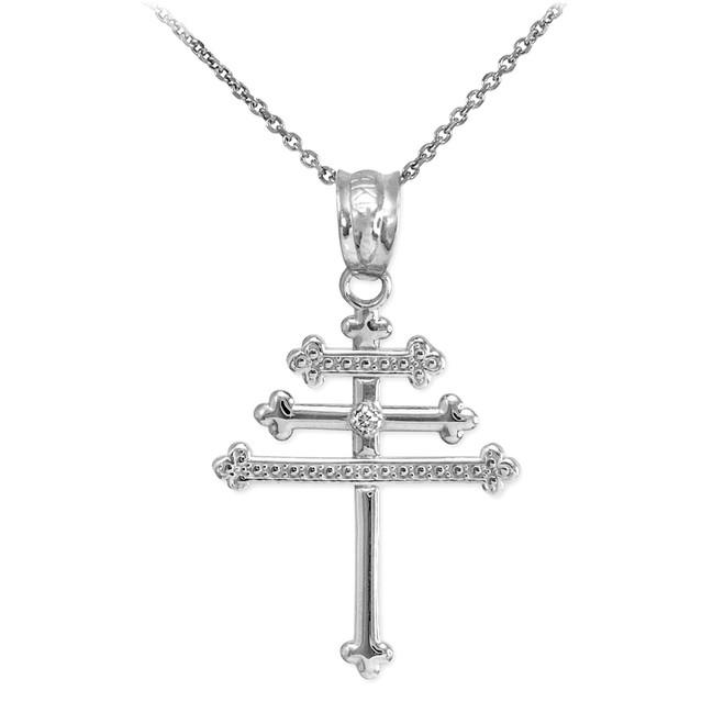 White Gold Diamond Maronite Aramaic Cross Necklace