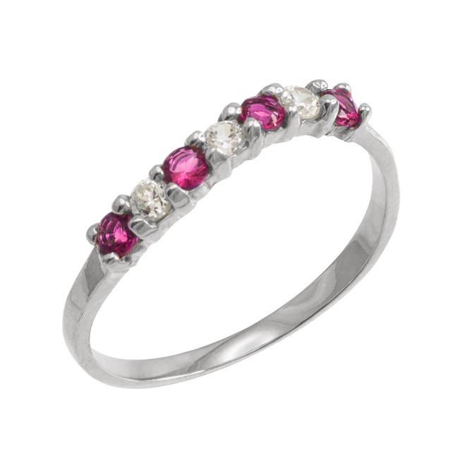 White Gold Wavy Stackable CZ Alexandrite Ring