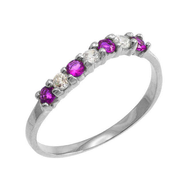 White Gold Wavy Stackable CZ Amethyst Ring