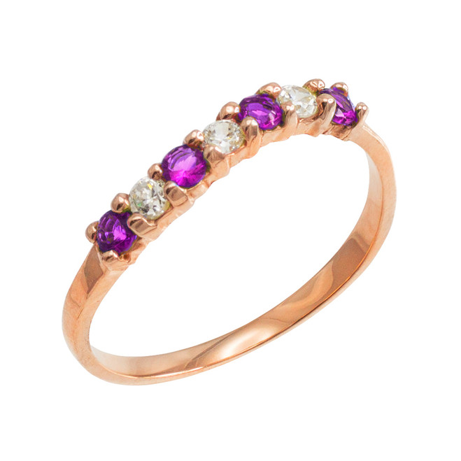 Rose Gold Wavy Stackable CZ Amethyst Ring