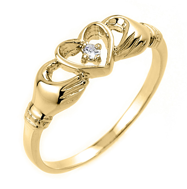 Gold Claddagh Ring - Yellow Gold Claddagh Ring with Diamond