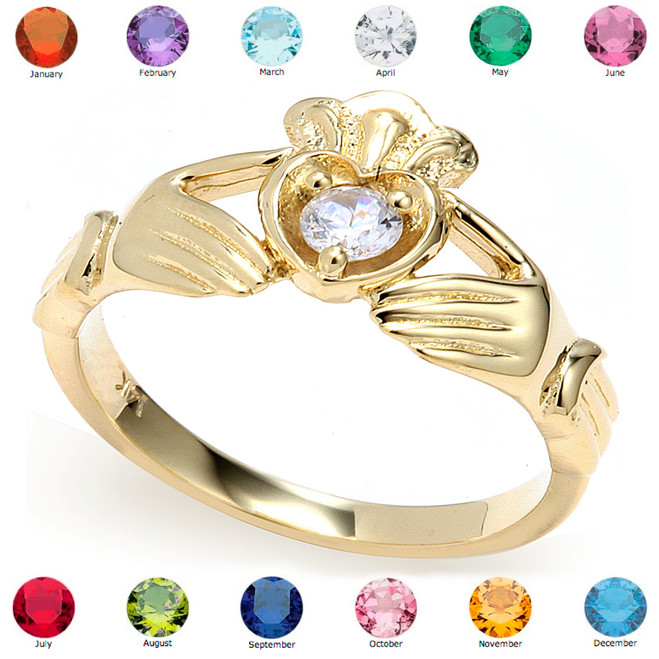 Yellow Gold Cubic Zirconia Claddagh Birthstone Ring