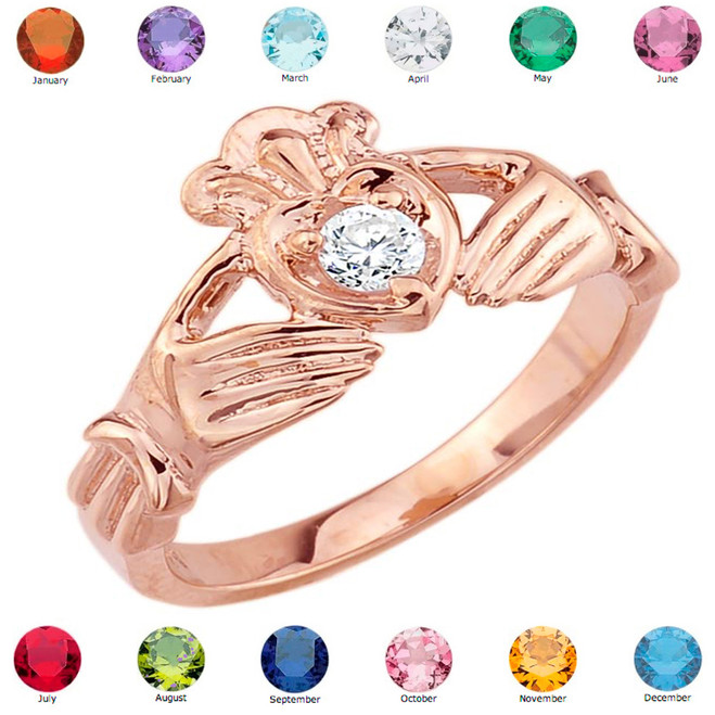 Rose Gold Cubic Zirconia Claddagh Birthstone Ring