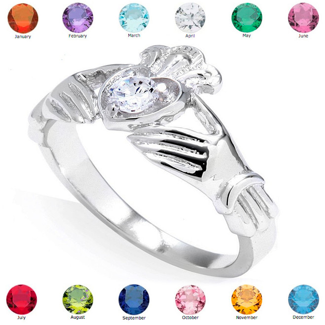 Sterling Silver Cubic Zirconia Claddagh Birthstone Ring