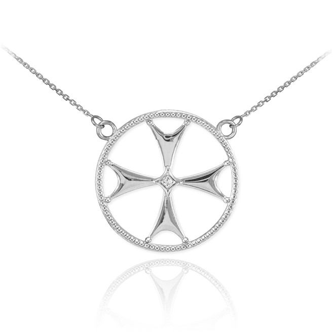 14k White Gold Diamond Maltese Cross Necklace