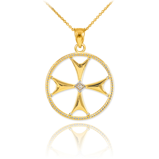 Gold Diamond Maltese Cross Pendant Necklace