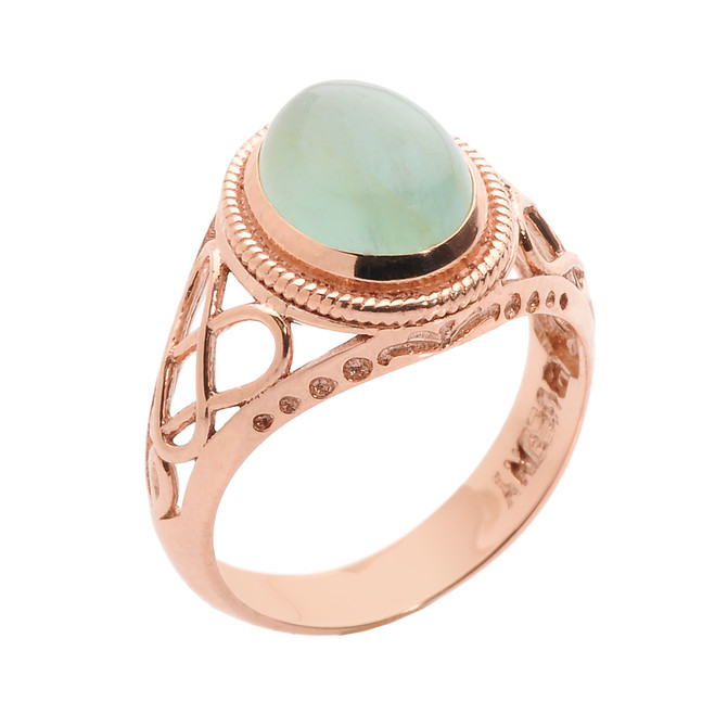 10k Rose Gold Celtic Trinity Knot Aquamarine Ring
